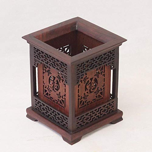 QAZWSX Massivholz schnitzen hohl geschnitzten quadratischen Stifthalter Schreibtisch Dekoration Retro original Holz chinesischen Stil Vier Schätze@Quadratischer Stifthalter