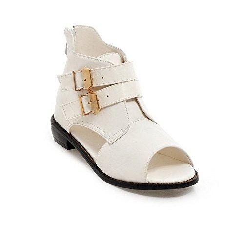 AllhqFashion Damen Niedriger Absatz Weiches Material Rein Reißverschluss Sandalen Weiß