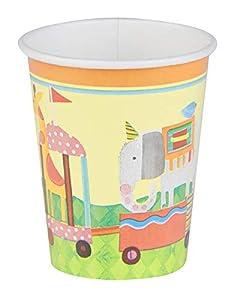 Unique Party 72436 - Vasos de papel de ducha para bebé, diseño de circo de 9oz, 8 unidades