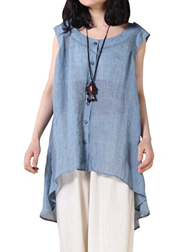 MatchLife Damen Ohne Arm Button-Down Weste Blau