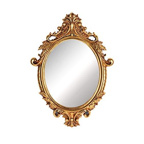 Wyhgry Badezimmerspiegel, Wandmontierter Kosmetikspiegel, Vintage Oval Resin Geschnitzte Rahmen, Moderne Home Schönheitssalon dekorative Prinzessin Spiegel (Color : Gold) -