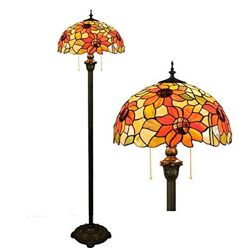 Bronze Tiffany Tischlampe (Litaotao Tiffany-Stil Stehlampe Handlötkolben Dekoriert Amerikanische Sonnenblume Bronze Lampe Für Schlafzimmer Wohnzimmer Bar Restaurant 16 Zoll)