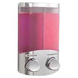 COMPACTOR Dispenser Sapone da Muro Doppio, 360 ml per Erogatore, Plastica Finitura Acciaio Cromato, RAN6016