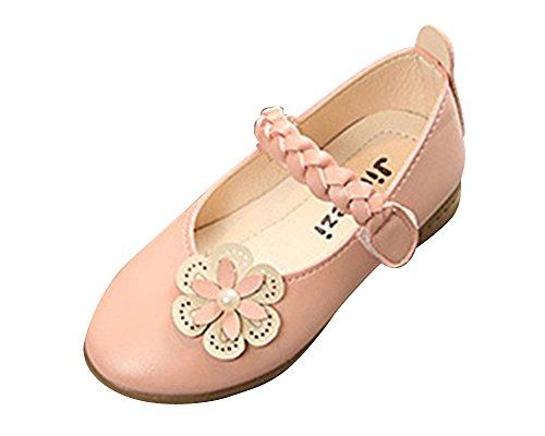 Qitun Festliche Kinder Mädchen Ballerinas Schuhe Studenten Tanzschuhe Kostüm Anti-Rutsch Einzelne Schuhe Pink EU 24/Fußlänge:15CM