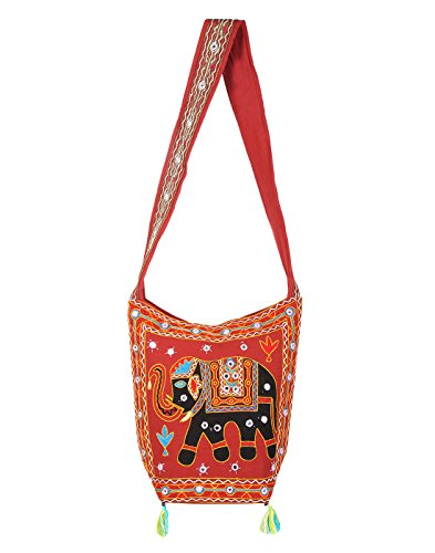 Brown Bags Jaipuri Rajasthani Ethnic Design Embroidery Hand Bag Girls Jhola Bags Jaipuri Rajasthani Sling Bag for Girls Jhola for Girl Women Ladies By Rajrang  available at amazon for Rs.449