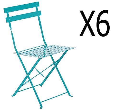 PEGANE Lot de 6 chaises Pliantes en Acier Coloris Lagon - Dim: 42 x 46 x 80 cm