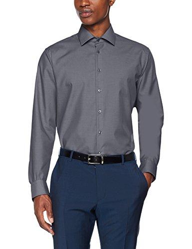 Seidensticker Herren Business Hemd Tailored Langarm Kent-Kragen Bügelfrei, Grau (Grau 34), Large (Herstellergröße: 42)