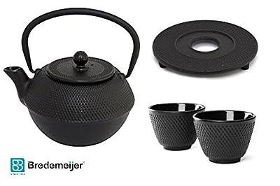 Bredemeijer Jang g002z Théière asiatique en fonte 1,2L Noir. En fonte, 2tasses à thé