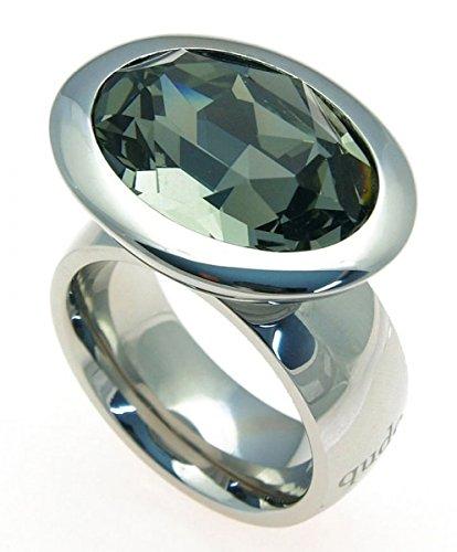 Qudo Edelstahlring mit Swarovski Elements Black Diamond SR205 Größe 60 (19.0)