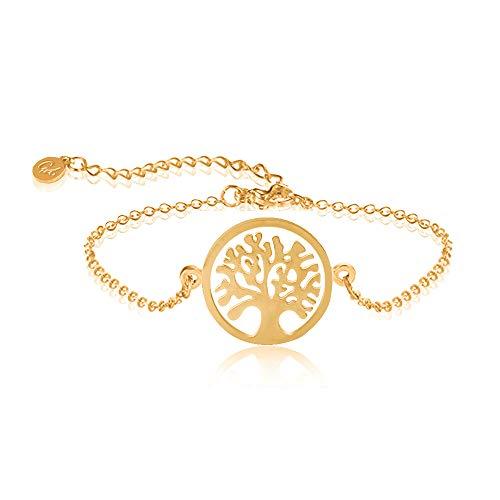Good Designs ® Lebensbaum Armkettchen für Frauen verstellbar modisches Mädchen Armband in Gold Freundschaftsarbamand goldenesarmband goldig goldfarben armbandgold goldenerschmuck
