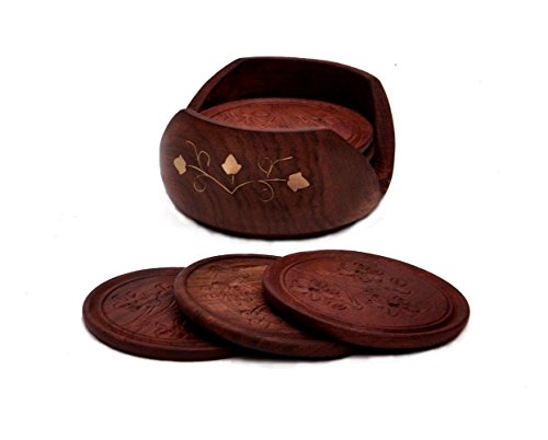 Worthy Shoppee Drink Coasters Sale / Deals 2016 - Rosewood Retro Wood Coaster Set With 6 Round Handmade Table Coasters & Decorative Wooden Holder For Tea Cups Coffee Mugs Beer Cans Bar Tumblers Water Glass(Gift For Christmas)  available at amazon for Rs.259