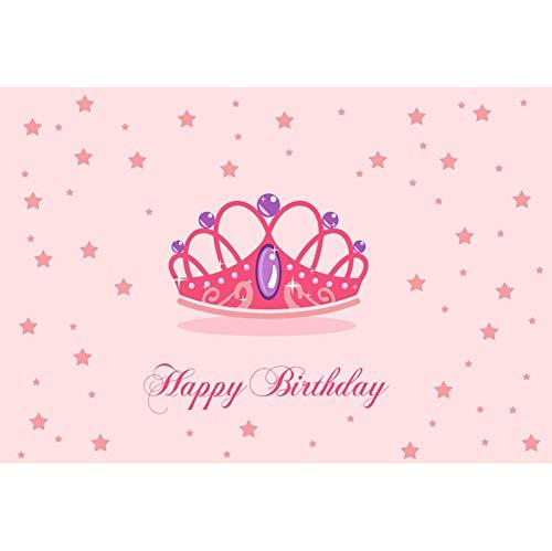 tag Hintergrund Alles Gute zum 1 Geburtstag Königin Krone Rosa Sterne Muster Geburtstagsparty Wanddekoration Hintergrund Kuchen zerschlagen Portraitfotografie ()