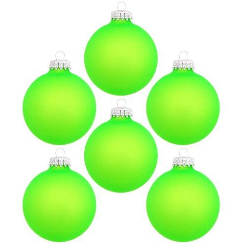 6 Weihnachtskugeln NEON Grün