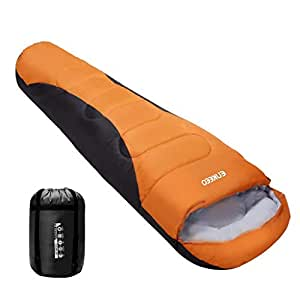 ENKEEO Sac de Couchage Adulte 230 x 85 cm -5 °C ~ 0 °C Portable, Imperméable pour Les Voyages, Le Camping et la Randonnée (Orange)
