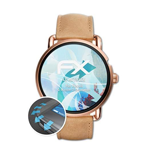 atFoliX Schutzfolie passend für Fossil Q Wander 2.Generation Folie, ultraklare & Flexible FX Bildschirmschutzfolie (3X)