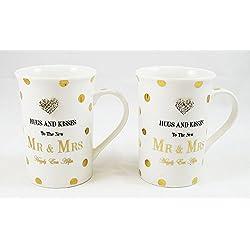 Señor y señora juego de taza regalo novia Novio boda Happily Ever después de Copa presente