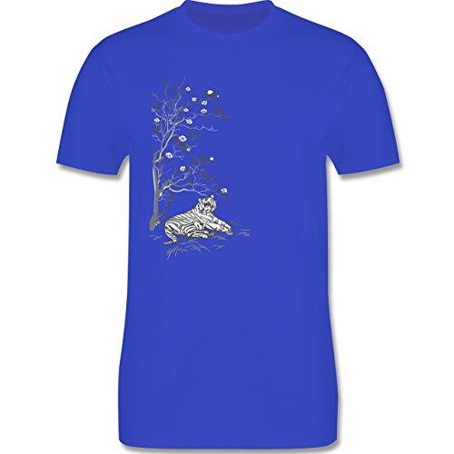 Vintage - Tiger Kirschblüten Baum - Herren Premium T-Shirt Royalblau