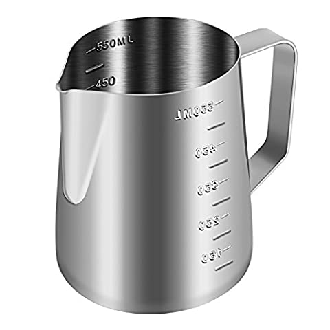 BREVO 550mL Milk Foaming & Frothing Measuring Pitcher 304 18/8 Stainless Steel
