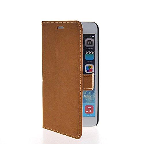 MOONCASE Housse de Protection Coque en Cuir Portefeuille Étui à rabat Case pour Apple iPhone 6 Plus Brun Light Brun 02