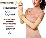 ayushicreationa Women's Cotton UV and Dust/Pollution Protection, Hand Socks with Finger Arm Sleeves (Skin, Free Size)