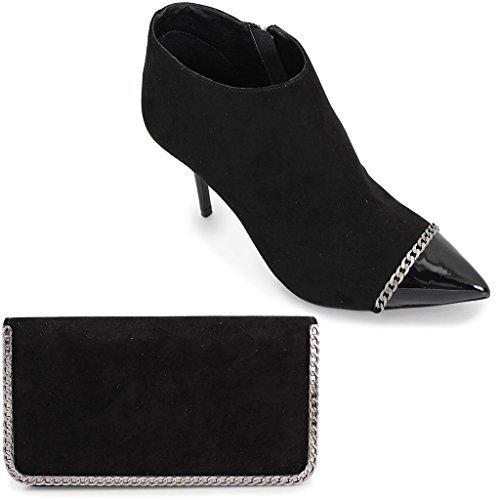 Fantasia Boutique flr296 Escada Femmes Faux Daim Pantalon Chaussure Bottines à Talon Cheville Sac à Main