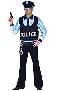 Ciao -Disfraz de Policía para adultos - Talla L - Color azul/celeste - Modelo n. 16143