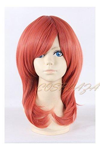 COSPLAZA Mittlerer Laenge Orange Perücken Cosplay Wigs Pinky Orange Mädchen Kostüme Anime (Pinky Perücke)