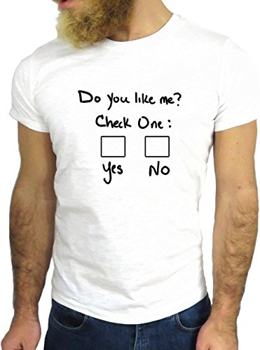 T SHIRT JODE Z1549 DO YOU LIKE ME CHECK YES NO FUNNY SCHOOL COOL FASHION NICE GGG24 BIANCA - WHITE