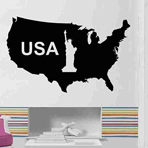 US Karte Aufkleber USA Aufkleber WandaufkleberPosters Vinyl Wandtattoos Wandaufkleber Dekor Wandbild US Karte Aufkleber 58X94CM