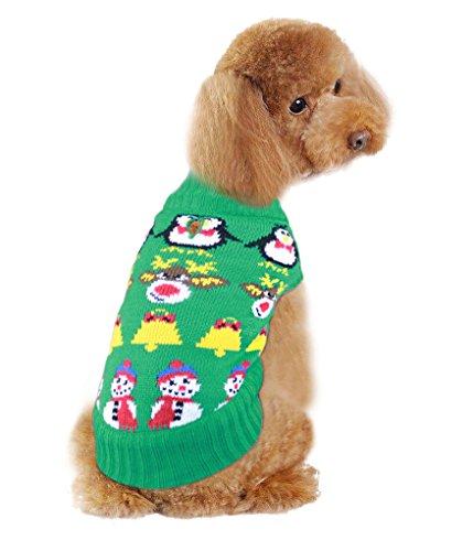 v28 Urlaub Weihnachten Rentier Vintage Classic Hund Pullover (25,4cm 30,5cm 35,6cm 40,6cm 50,8cm) Festive Kleid, 10 - inch, Decor Green - Green Holiday Kleid