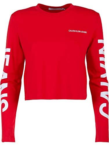 Calvin klein jeans t-shirt, cropped, girocollo, logo frontale, cotone, rosso (s)
