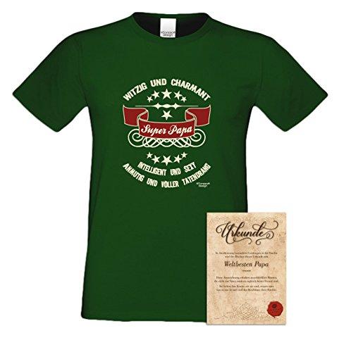 Herren-Männer-Vater-Sprüche-T-Shirt :-: Super - Papa :-: als Geburtstags-Weihnachts-Vatertags-Geschenk :-: auch Übergrößen 3XL 4XL 5XL :-: mit Urkunde :-: Farbe: dunkelgrün Dunkelgrün