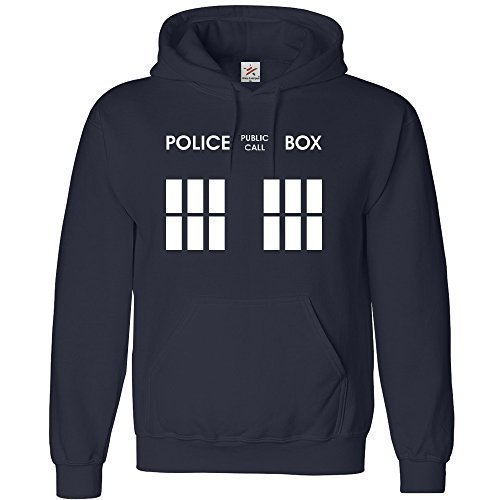 "Start &Stripes - Felpa con cappuccio da adulto tutte le taglie + 1 t-shirt, ispirato alle ""Police Box"" di Doctor Who Navy blue Large"