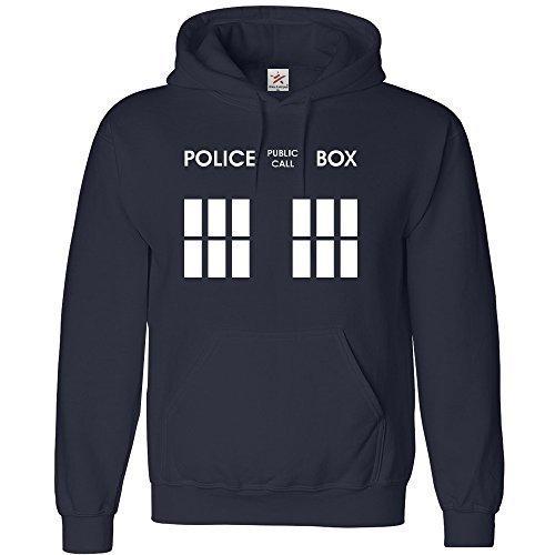 Inspired DOCTOR Police Box felpa con cappuccio in adulto con cappuccio Top tutte le dimensioni, Plus 1t shirt-Star & strisce marchio Navy blue Small