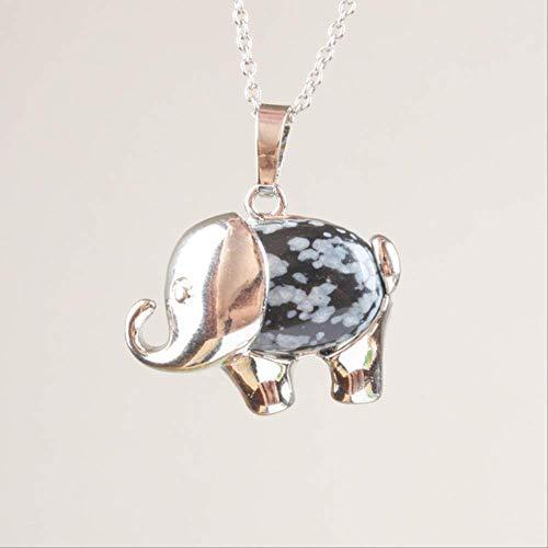 CHZDSB Anhänger Hübscher Rosenrosa Quarz Tigerauge Karneol Opal Obsidian Lapislazuli Tier Anhänger 1 StückSchneeflocken Obsidian