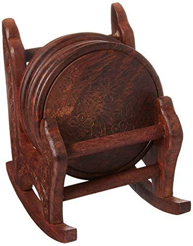 SouvNear Untersetzer - Stuhl Retro Holzuntersetzer mit 6 Runden Tisch Untersetzern und Halter aus Holz, Weihnachten und Ferien Geschenke aus Indien (Mit Stühlen Kaffee Tisch Runder)