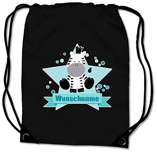 Samunshi® Turnbeutel mit Zebra und Name für Jungen und Mädchen personalisierbar personalisiert mit Namen Sportbeutel für Schule Sport Sporttasche schwarz