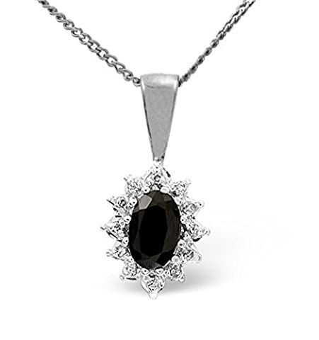 TheDiamondStore | Pendant & Chain Set - Blue Sapphire & Diamond Cluster - 9K White Gold
