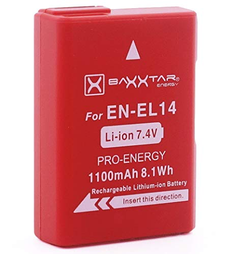 Baxxtar Pro batteria per Nikon EN-EL14 EN-EL14a vero 1100mAh batteria intelligente per D3100 D3200 D3300 D3400 D3500 D5100 D5200 D5300 D5500 D5600 etc.
