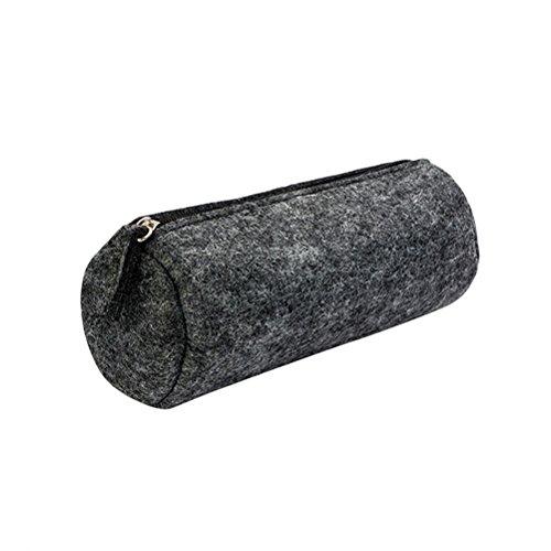 YeahiBaby Estuche de lápices de fieltro redondo Estuche de almacenamiento de artículos de papelería Monedero Estuche de embrague de maquillaje cosmético (gris oscuro)