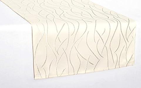 Tischläufer eckig in glänzender Streifenoptik 40x140cm creme , Premium Stoffqualität , Farbe und Größe wählbar, toller Glanz, natürliche Optik und (Glatte Glanz Creme)