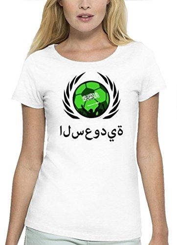 ShirtStreet Wappen Fussball WM Premium Fanfest Damen T-Shirt Bio Baumwolle Stanley Stella Fußball Saudi-Arabien White