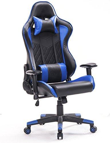 Top gamer da ufficio relax con sedile sportivo larga sedia ergonomiche da alta sportiva con supporto lombare (blu)