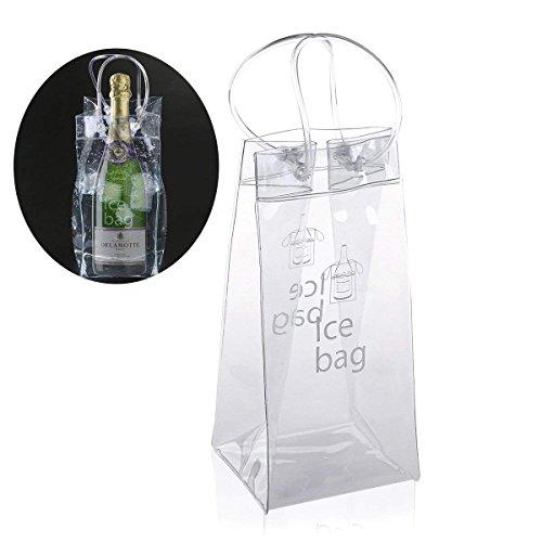 VADOO PVC Wine Ice Bag Tasche Kühltasche mit Griff, transparente PVC-Champagner Wein Ice Bag Tasche Kühltasche mit Griff