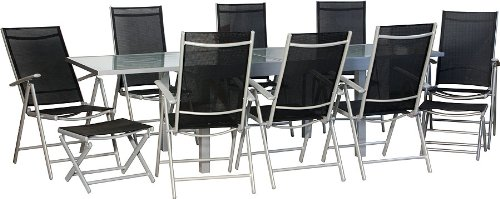 Salon de jardin de première classe XXL Aluminium / noir Ensemble Terrasse, grande table rallonge 135-270 cm