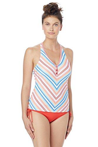 Beach House Damen Racer Back Snap Front Tankini Swimsuit Top Tankinioberteil, Rock Reef Stripe Sunset Coral, 40 -
