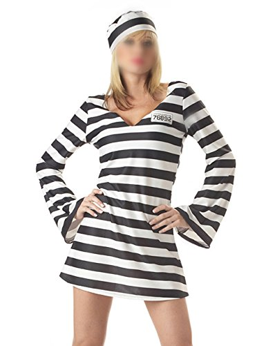 Sträfling Kostüm Gefängnis - THEE Sträfling Kostüm Gefängnis Verkleidung Anzug Uniform für Halloween Cosplay Karneval Fasching Fastzeit