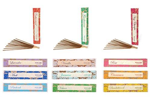 Fair trade bastoncini di incenso–5confezioni (12pezzi)–100% naturale materiali, cedar wood