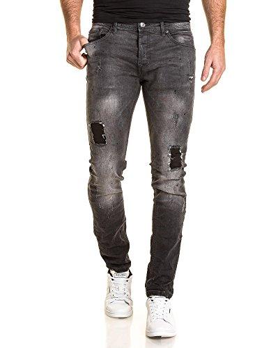 Gov Denim - Jeans homme gris foncé délavé fashion troué avec pièces Gris