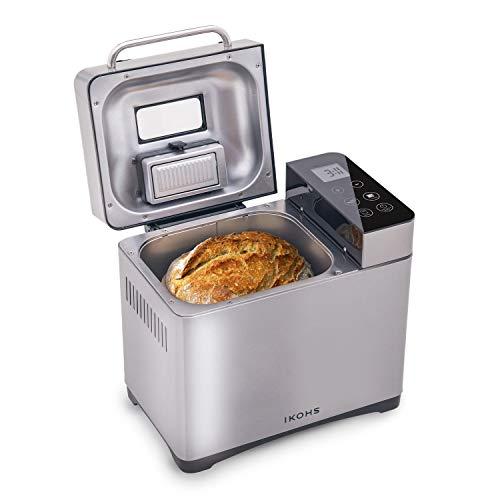 IKOHS Panificadora DEPAN 710-IK - Panificadora Automática, 750W, LCD, 17 Programas Automáticos, 3 Niveles de Horneado, Temporizador Digital, Incluyen Accesorios, Capacidad de 900 Gramos (Gris)